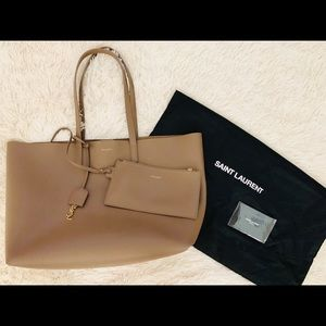 Saint Laurent East West Tote Bag - Taupe